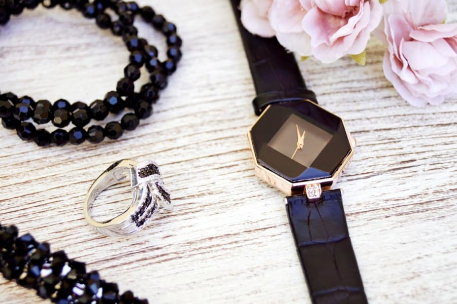 Black and Gold-colored Analog Watch With Leather Strap