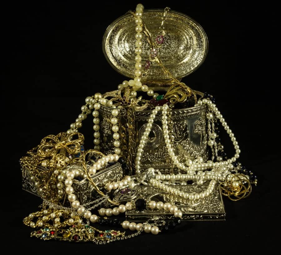 Gold Beaded Necklaces on Gold Jewelry Box