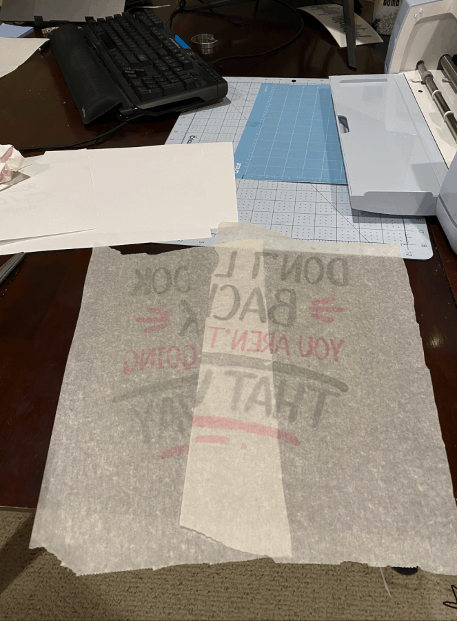 butcher paper with Infusible Ink transferred onto it from pressing